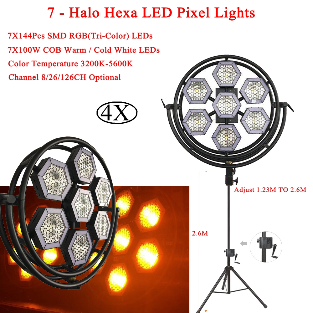 4Pcs/Lot NEW DJ Equipment 7 - Halo Hexa LED Pixel Lights 7X144 RGB 3IN1 LEDs And 7X100W COB Warm/Cold White LEDs Stage Lighting image