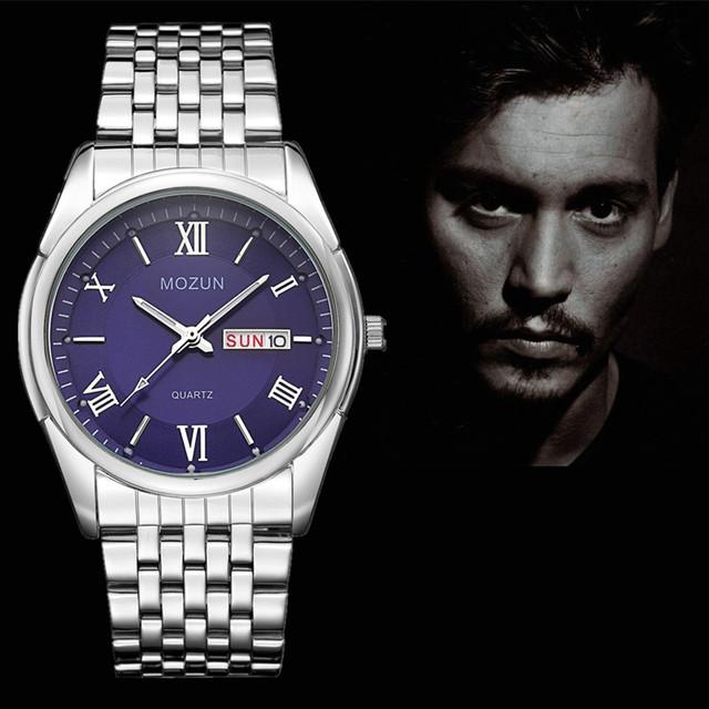 Novos Homens Relógio Data Dupla Moda Quartzo Homens Relógios Marca de Topo Relógio de Pulso Masculino Reloj Hombre Orologio Uomo MOZUN Relogio masculino