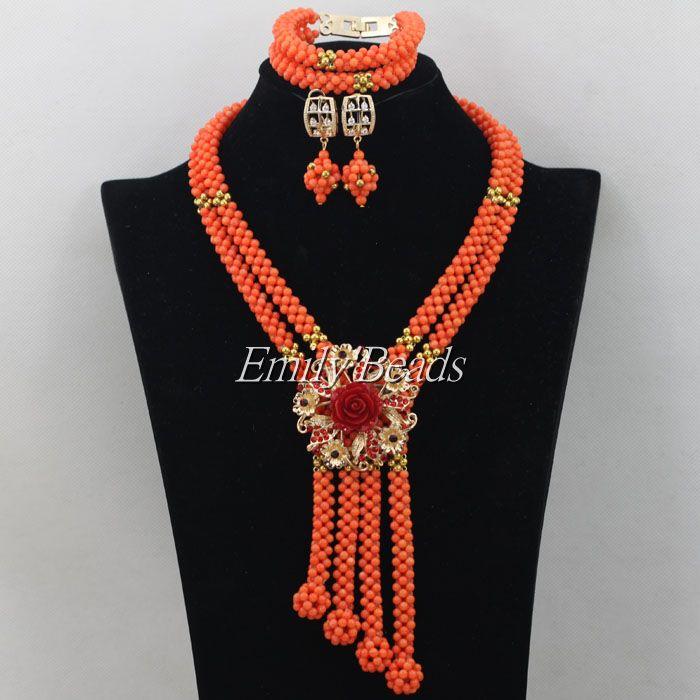 Здесь продается  2015 Hot Handmade African Wedding Nigerian Beads Jewelry Set Coral Beads Jewelry Set Bridal Necklace Jewelry Free Shipping CJ468  Ювелирные изделия и часы