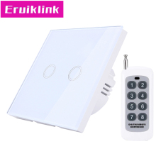 EU/UK Standard Wireless Remote Control Wall Switch, 2 Gang 1 Way White Glass Panel Linght Touch Switch for RF433 Smart Home eu uk standard wireless remote control wall switch 3 gang 1 way glass panel linght white touch switch for rf433 smart home