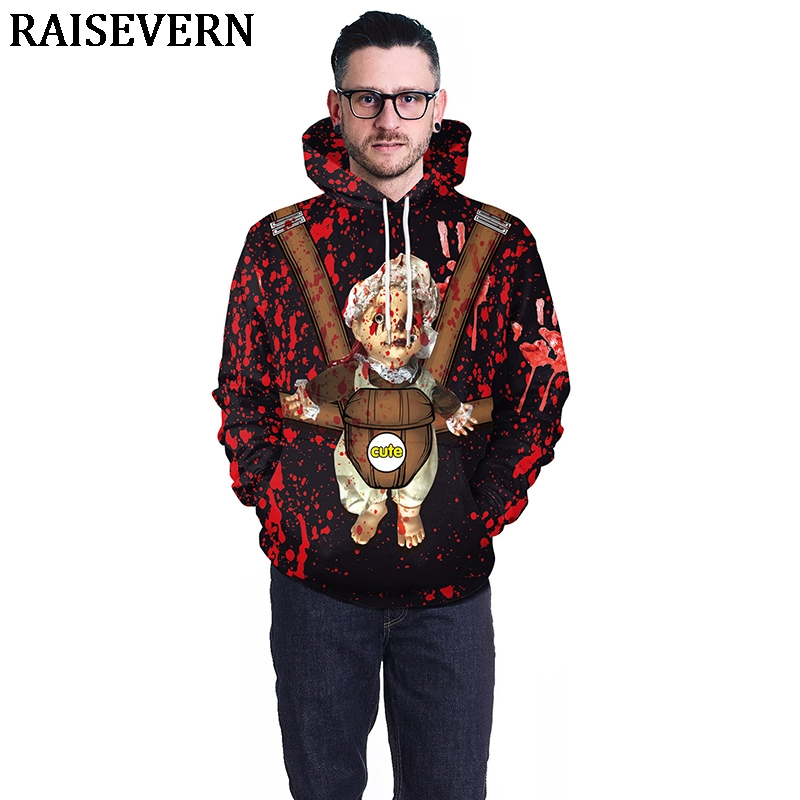 Men's Clothing Blood Baby Hoodies Sweatshirts Men Women Halloween 3d Print Tops Jacket Jumper Tracksuit Pullover Blood Handprint Streetwear