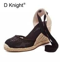 Big Size Espadrilles Sandals Women Wedges Shoes Fashion Patform High Heels Sandals Women Boho Ankle Strap Platform Wedge Sandals