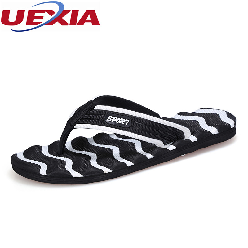 UEXIA Plus Size 48 Outdoor Summer Men Shoes Fashion Breathable High Quality Beach Slippers Flip Flops EVA Massage Sandales Flats 2016 summer new men s massage sole flip flops personality simple slippers breathable fashion beach shoes size 40 44 b1953