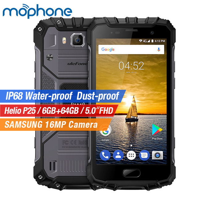"UleFone Armor 2 IP68 Tri-proof Smartphone 4G 5.0"" MTK Helio P25 Octa Core Android 7.0 6GB+ 64GB 16.0MP+8.0MP 4700mAh Cellphone"