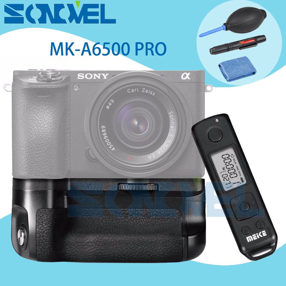 Meike MK-A6500 pro Battery Grip Holder Built-in 2.4G Wireless Remote Control Suit for Sony A6500 NP-FW50 + Cleaning kit meike mk d500 pro vertical battery grip built in 2 4ghz fsk remote control shooting for nikon d500 camera as mb d17