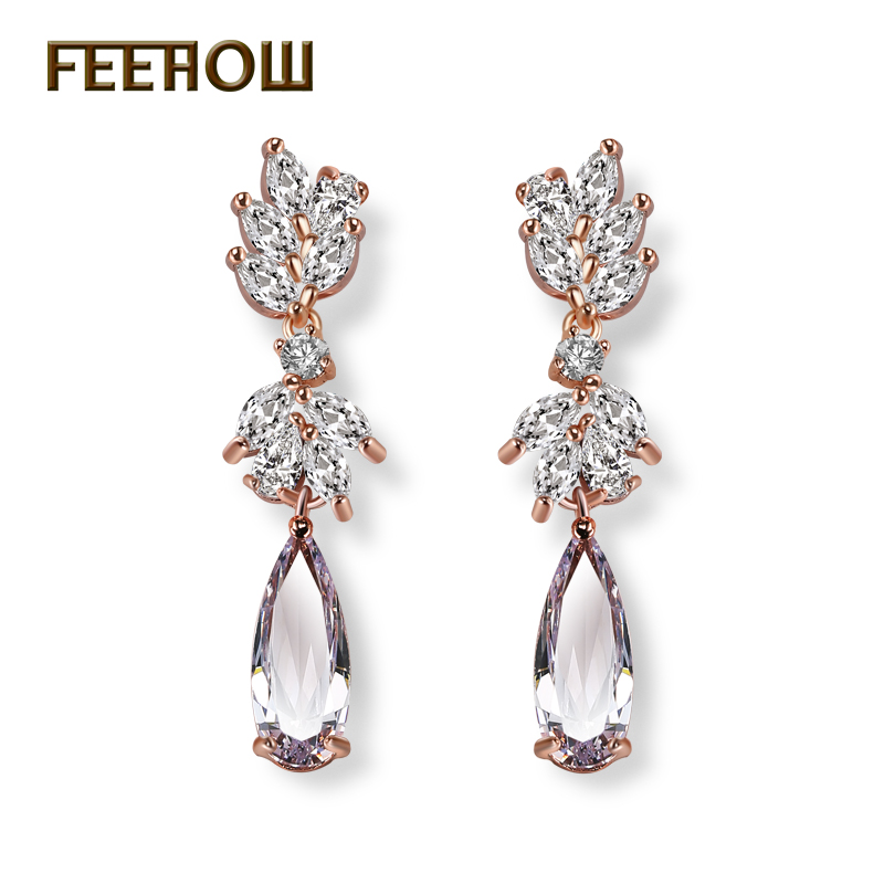 FEEHOW New Arrival Luxury Brand Rose Gold Color Drop Earrings AAA Zircon High Quality Dangle Earring For Women Gift FWEP050