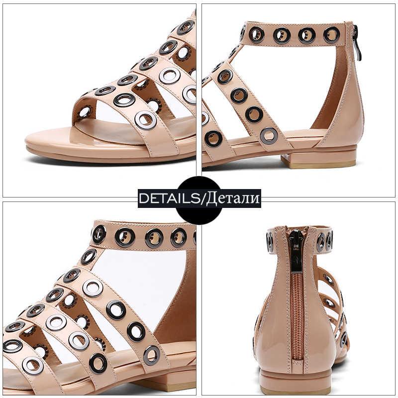 WETKISS 2018 Yaz Rugan Kadın Sandalet Metal Dekorasyon Ayakkabı Düz Taban Gladyatör Sandalet Ayak Bileği Kayışı Kız Ayakkabı