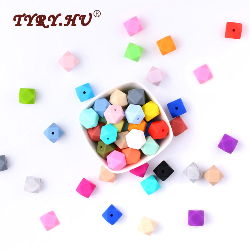 TYRY.HU 10Pcs Silicone Hexagon Beads 14mm Baby Teething Beads BPA Free Baby Teethers DIY Necklace Pacifier Chain Accessories