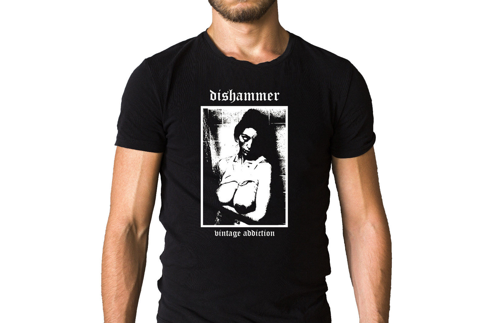 Dishammer Vintage Addiction 2008 Album Cover T-Shirt Shirts Summer Short Sleeve Novelty  ...