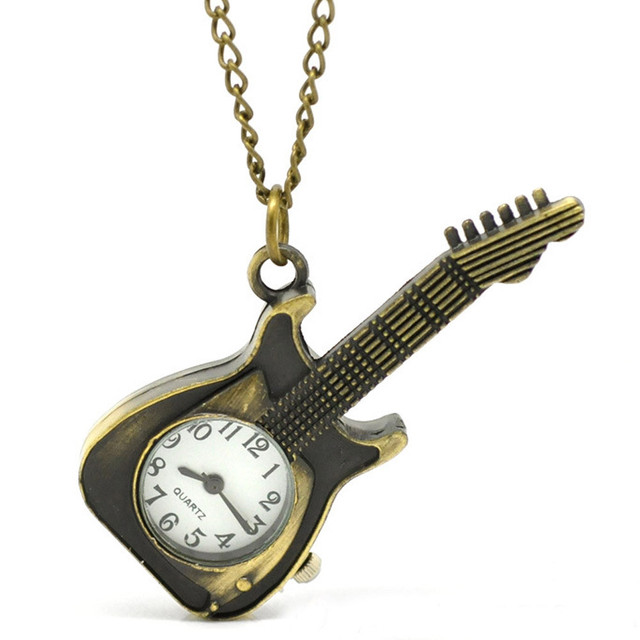 #5001Guitar Shape Pocket Quartz Keyring Watch keychain Pendant Gifts DROPSHIPPIN