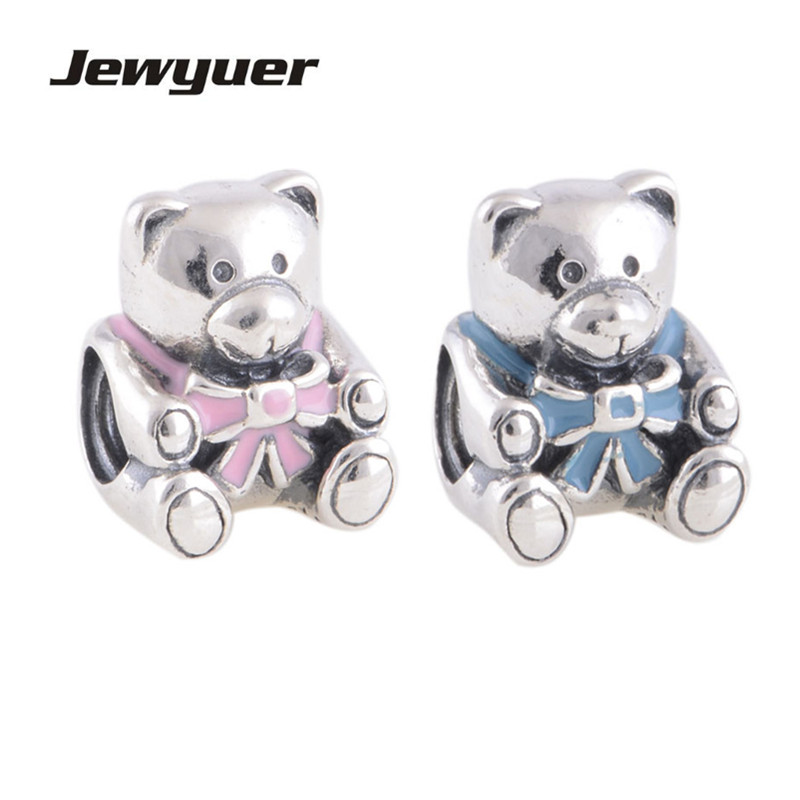 Memnon Fine Jewelry baby girl and boy bear Charms 925 Sterling Silver jewelry animals charm Fit bead Bracelet Bangles DIY BE116