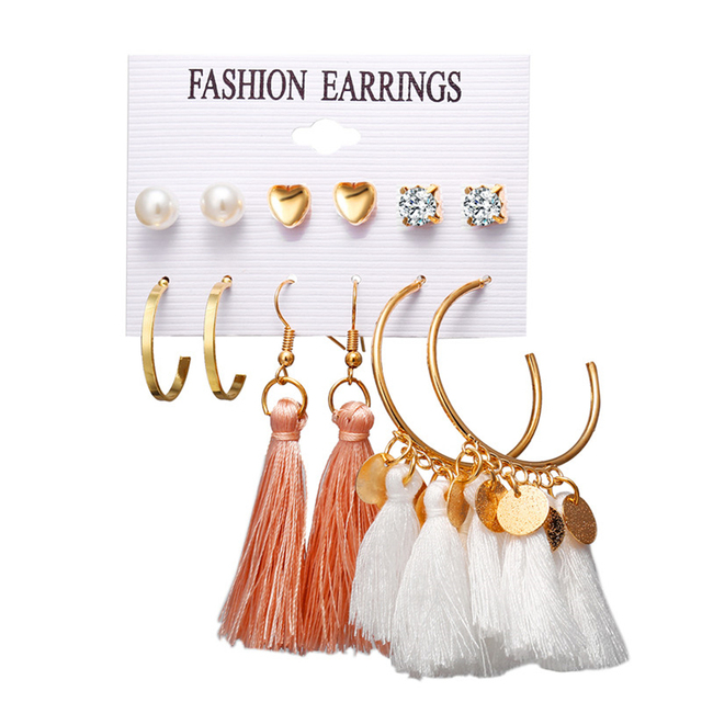 IF ME Vintage Tassel Earrings Sets For Women Girl Metal Round Circle Crystal Heart Statement Studs Jewelry Oorbellen Party New