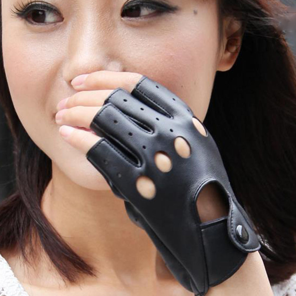 High quality womens leather gloves - Women S Leather Gloves Half Finger Fingerless Stage Sports Driving Hot
