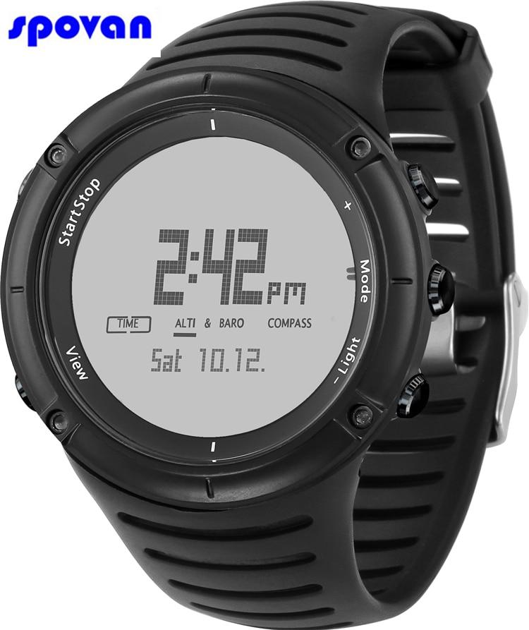 Relogio Masculino SPOVAN Sport Watch Mens Waterproof Barometer Altimeter Thermometer Compass Chronograph Digital Wristwatch Man