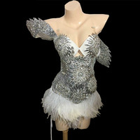 Luxurious Sparkly Crystals Feather Dress Outfit Bright Silver Rhinestones Costume Female Singer Birthday Dresses Stage Wear Set