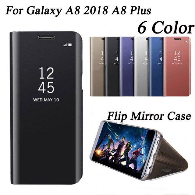 96d09c7356 S9 espejo para Samsung Galaxy A8 2018 A8Plus de cuero claro vista Flip  cubierta para Samsung