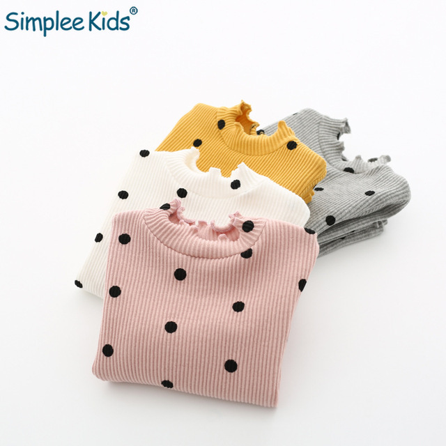 2018 Spring Girls T-Shirts Polka Dot Cotton Children's Shirt Girl Tops Long Sleeve Baby Girls Knitted Pullovers Toddler Blouses