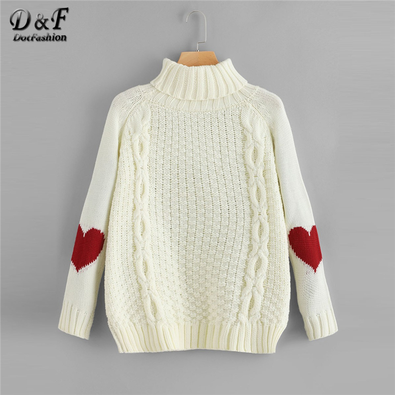 Dotfashion Beige High Neck Heart Print Jumper Women Casual Autumn Winter Fashion 2019 Clothing Female Sweaters And Pullovers