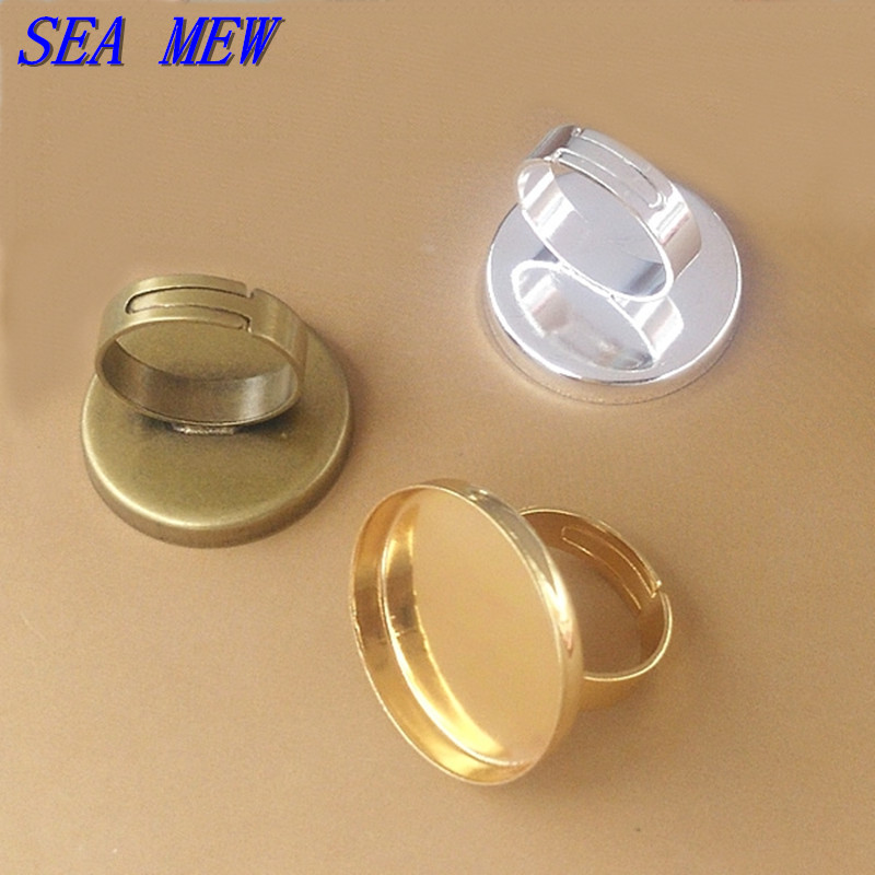 Fit 25mm Cabochon Copper Blank Ring Fashion Silver Gold Antique Bronze Tone  Round Blank Setting Bezel Adjustable Ring Base dbb9887ffc7e