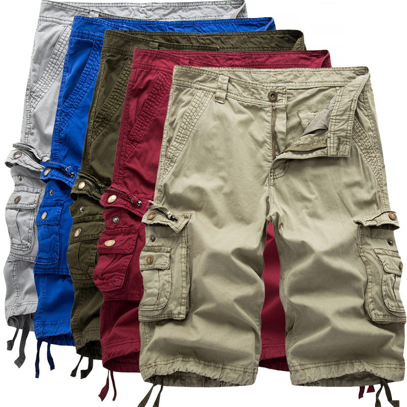 2017Men's Army Cargo Work Casual Bermuda Shorts Men Joggers Overall Homme Cotton Multi-pocket High Quality Cargo Loose Short 38