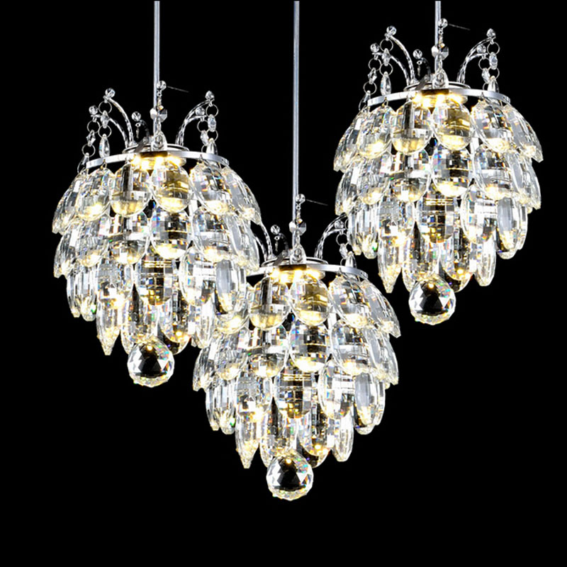 Creative crystal dining chandeliers bedroom corridors lighting entrance dining room table three single head discount bar lamps