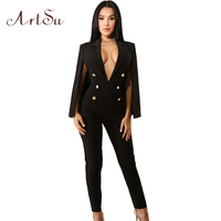 ArtSu Fashion Work OL Solid Cape Jumpsuit Women Sexy Deep V Neck Slim Party Romper Long