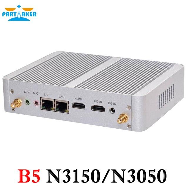 Partícipe del Último estilo N3150 1.60 GHz Quad Core 4 Hilos Sin Ventilador Mini PC con 2 HDMI 2 Puertos LAN