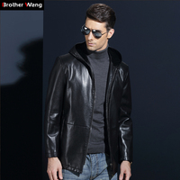 2017 Autumn Winter New Men S Casual Hooded Leather Jacket Fashion Business Men Faux Leather Jacket