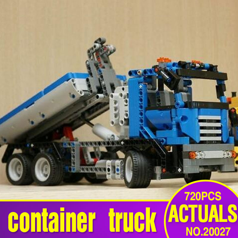 Lepin 20027 720Pcs Technic Mechnical Series The Container Truck Set Children Educational Building Blocks Bricks Toys Model 8052 lepin 21016 1175pcs technic series the turbine super truck set children building blocks bricks educational toys compatible 5590