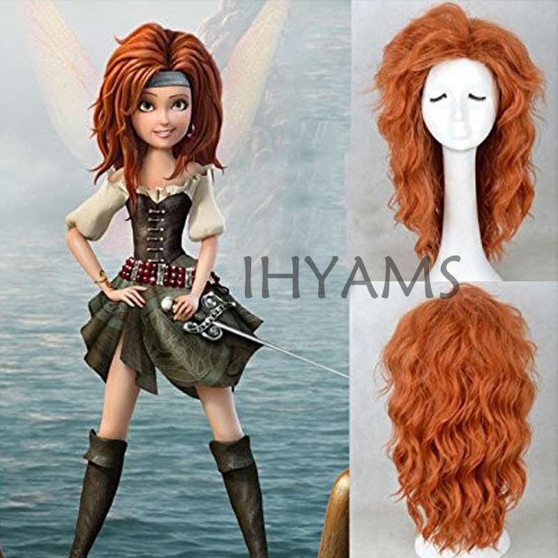 The Pirate Fairy Meet Zarina Cosplay Wig Halloween Costume Halloween Orange Curly Syntehtic Party Wig + Wig Cap