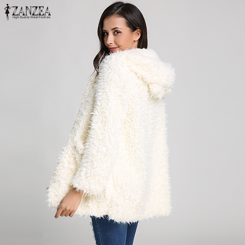 16aff360db4 ZANZEA Women Hoodies Sweatshirt Fleece Fur Coat 2018 Winter Warm Teddy Bear  Ears Soft Jacket Thick Overcoat Hooded Long Outwears-in Hoodies    Sweatshirts .
