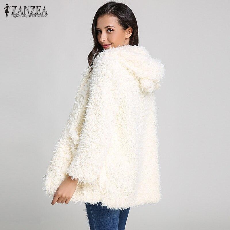ZANZEA sudaderas mujeres capucha piel sudadera lana abrigo con de de rTrx4