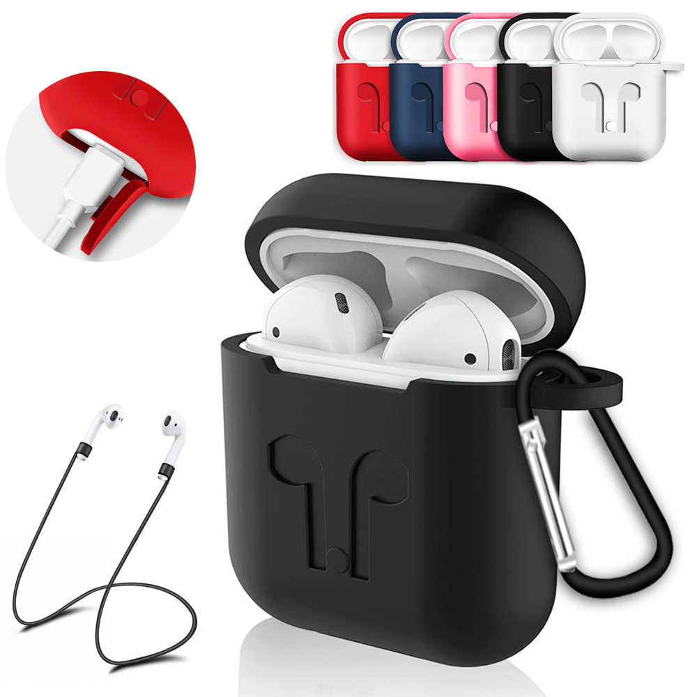 Soft Silicone Case Cover for Apple Airpods Case Headphones Pouch Shockproof Anti Lost Strap Holder for Airpods Accessories