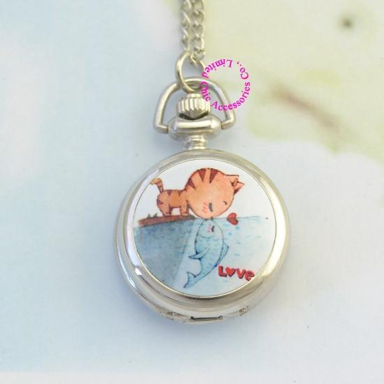 zilveren klassieke schattige kat kus vis meisje dame vrouwen fob zakhorloge ketting horloges uur lage prijs goede antibrittle nieuwe mode