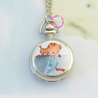 Silver classic cute cat kiss fish girl lady women fob pocket watch necklace watches hour low.jpg 200x200