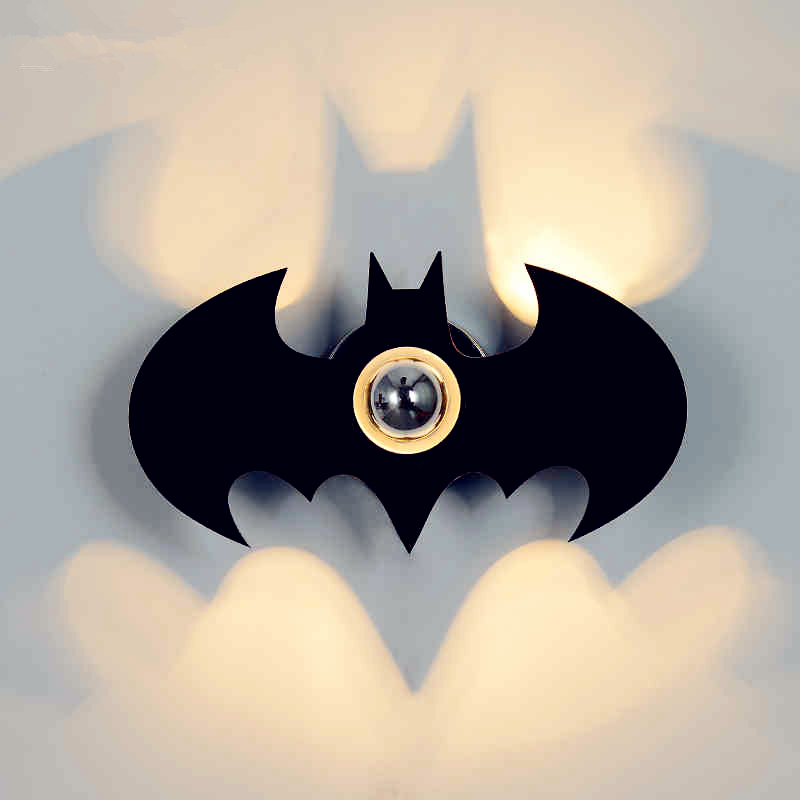 Hot Sale E27 Led Wall Sconce Night Light Gift Wall Lamp For Bedroom New Acryl Fashion Black BATMAN Shadow Led Wall Lamp 2018 hero batman bat wall night light lampara shadow projection lamp child kids toy gifts warm light sensor contrller multicolor