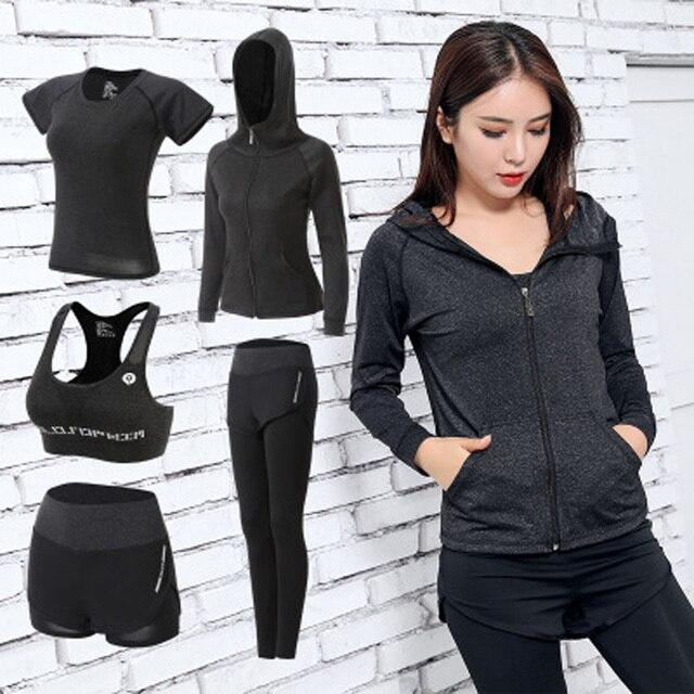 2e19295d95c51 Kadınlar Yoga Seti Gym Fitness Giyim Tenis Gömlek + Pantolon Koşu Sıkı  Egzersiz Tayt Spor Takım Elbise artı boyutu