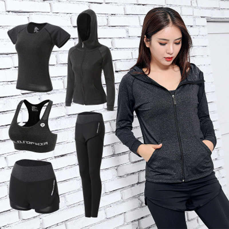 17ac28b22c3 Women Yoga Set Gym Fitness Clothes Tennis Shirt+Pants Running Tight Jogging  Workout Yoga Leggings
