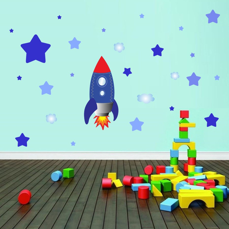 Could Stars Plane Rocket Cartoon Wall Art Decal For Kid Nursery Bedroom Home Decor Vinyl Wall Sticker Removable Modern Wallpaper (4)