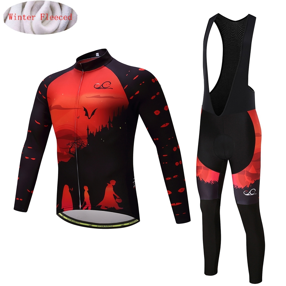Cycearth New Thermal Fleece Cycling Jersey Winter Long Set Bicycle Clothing Bike Warm Maillot Ropa Ciclismo Bib Pants CEF008A black thermal fleece cycling clothing winter fleece long adequate quality cycling jersey bicycle clothing cc5081