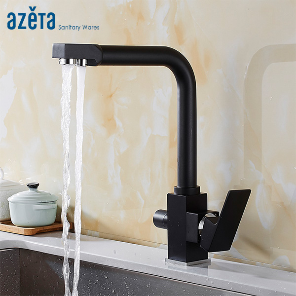 Azeta Kitchen Faucet Black Brass 360 Degree Swivel 3 Way Faucet Water Outlet With Water Purify Feature Kitchen Sink Taps AT8814BAzeta Kitchen Faucet Black Brass 360 Degree Swivel 3 Way Faucet Water Outlet With Water Purify Feature Kitchen Sink Taps AT8814B