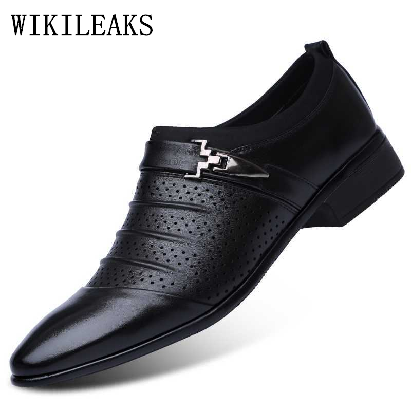 Hollow Out Oxfords Formal Shoes Mens Leather Wedding Shoes Black Heren Schoenen Oxford Shoes For Men Dress Shoes 2019 Loafers