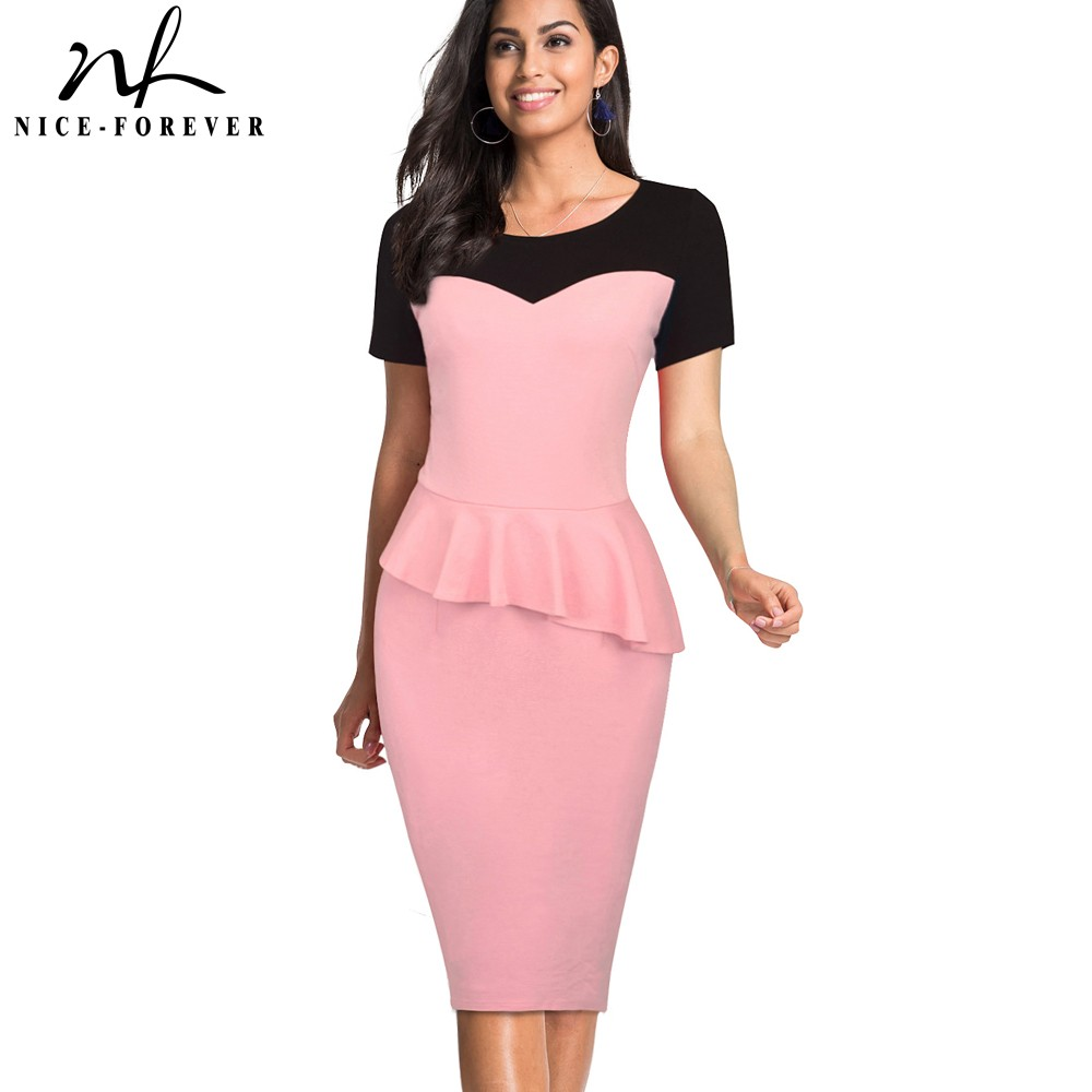 Nice-Forever Vintage Elegant Contrast Color Patchwork Peplum Work Vestidos Business Bodycon Office Women Dress Btyb397