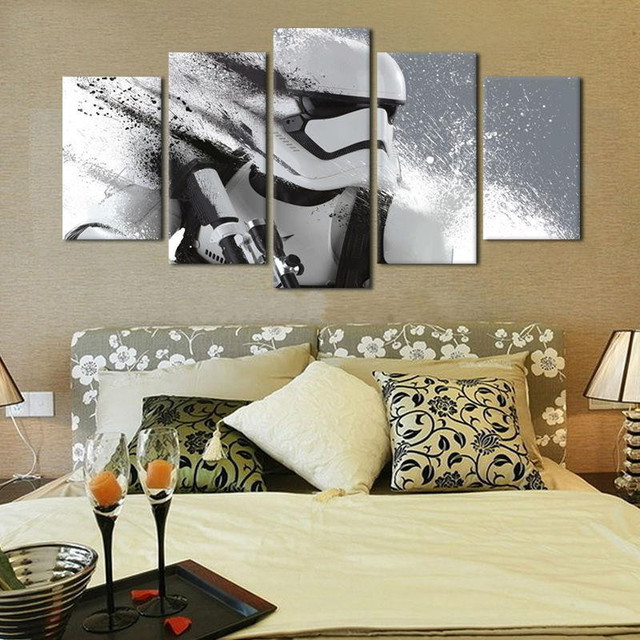 Star Wars Canvas 5 Piece Stormtrooper Movie Poster Painting Wall Pictures For Living Room Decorative