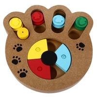 Wooden Paw Shape Pet Treat Food Hiding Puzzle IQ Training Interactive Educational Toys for Dogs Cats