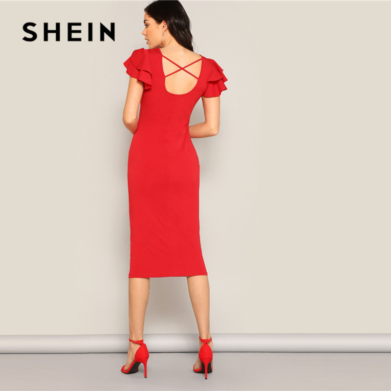 Image 3 - SHEIN Red Layered Ruffle Sleeve Crisscross Back Bodycon Dress Women Summer Elegant Sleeveless Solid Slim Midi Party Dress-in Dresses from Women's Clothing
