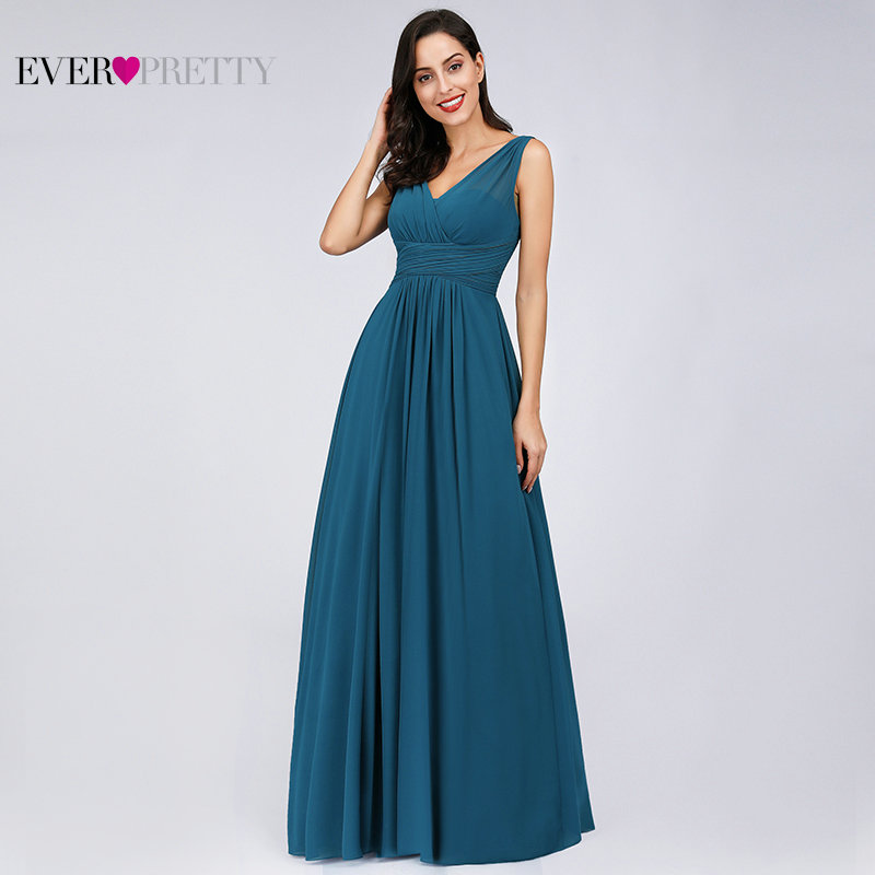 Prom Dresses 2019 Ever Pretty EB07657 Elegant A-line V-neck Teal Tulle Sleeveless Simple Long Party Gowns Sexy Vestido Formatura