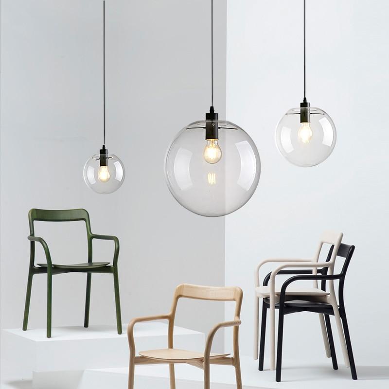 Skleněná závěsná světla moderní koule kulatý míček hanglamp svítilna závěsné svítidlo osvětlení jídelna kuchyně svítidla