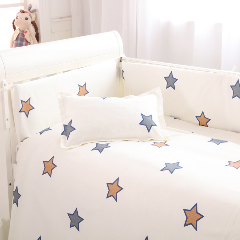 (4 bumpers+1 sheet )5 pcs / set baby crib bumpers  bed sheet bedding set cotton bed around protection star Giraffe rabbit design простынь swaddledesigns fitted crib sheet turquoise stripe