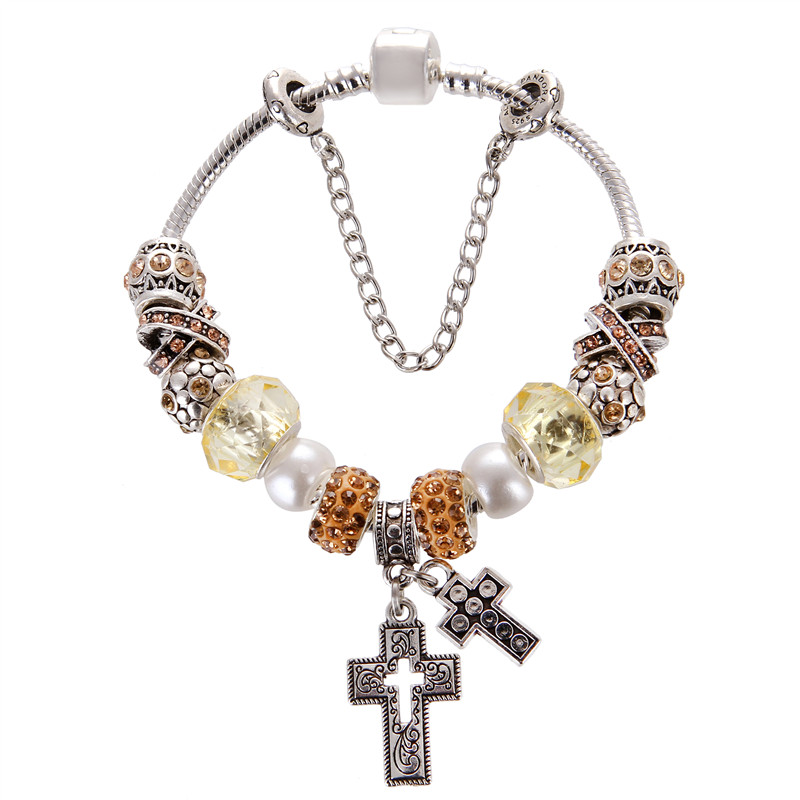 European Style Vintage Cross Pendant Silver plated Yellow crystal Fashion Pandora Bracelet For Women/Gril gift jewelry